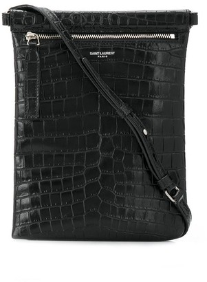 Saint Laurent Embossed Crocodile Effect Messenger Bag