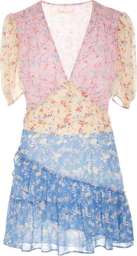 LoveShackFancy Bea Color-Blocked Floral-Print Silk Mini Dress