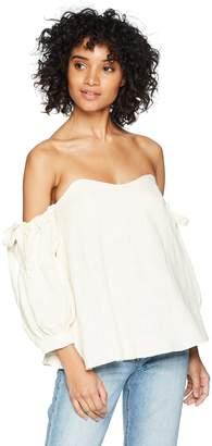 EVIDNT Women's Off The Shoulder TIE Sleeve Flowy TOP