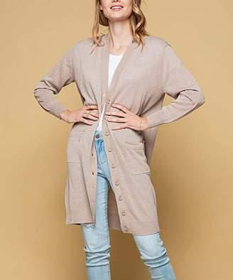 Desfios Women's Cardigans ALMOND - Almond Pocket Linen-Blend Button-Up Duster - Women