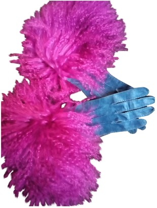 Chanel Blue Leather Gloves