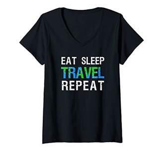 Wanderlust Womens Travel Nomad Travelling Eat Sleep Travel Repeat V-Neck T-Shirt