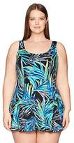 Maxine Of Hollywood Women's Plus Size Jungle Night Swim Dress One Piece Swimsuit