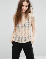 Vero Moda Lace Long Sleeve High Neck Top