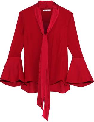 Alice + Olivia Meredith Tie-neck Satin-trimmed Silk Blouse