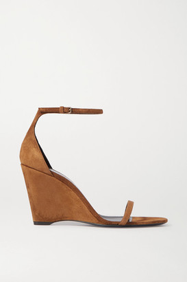 Saint Laurent Bianca Suede Wedge Sandals - Tan