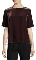 Vince Half-Sleeve Jewel-Neck Velvet Tee, Raisin