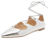 Loeffler Randall Ambra Metallic Leather Lace-Up Flat