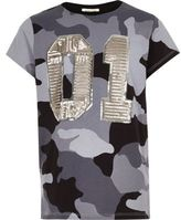 River Island Girls grey camo sequin oversized T-shirt
