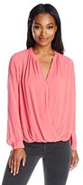 Velvet by Graham & Spencer Women's Rayon Challis Surlice Button Blouse