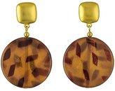 Kenneth Jay Lane Round Satin Gold / Tortoise Brown Drop Earrings
