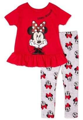 Minnie Mouse Disney Baby Girl Top & Leggings Outfit, 2pc set