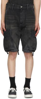 Neighborhood Black Denim Washed C-PT Cargo Shorts