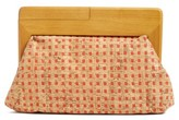 Sondra Roberts Wood Frame Raffia Clutch - Beige