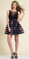 Dave and Johnny Lace Illusion Rosette Cocktail Dress