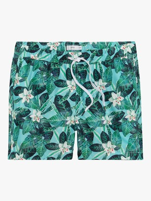 Onia Charles Stellaria Floral 5 Swim Shorts, Blue/Green