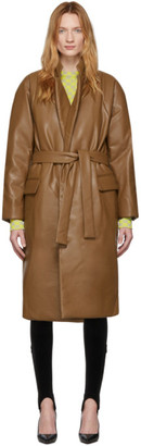 pushBUTTON Brown Faux-Leather Hoody Coat