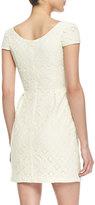 Amanda Uprichard Cap-Sleeve Floral Lace Dress, Ivory