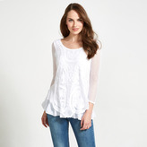 Apricot White Embroidered Mesh Tunic Top