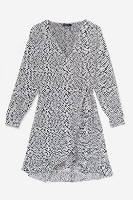 Nasty Gal Womens Red Spotty Wrap Dress with Ruffle Detailing - White