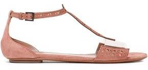 Alaia Laser-cut Pvc-trimmed Suede Sandals