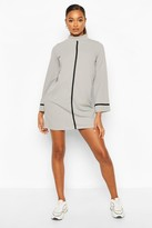 boohoo Funnel Neck Swing Dress With Contrast Tape