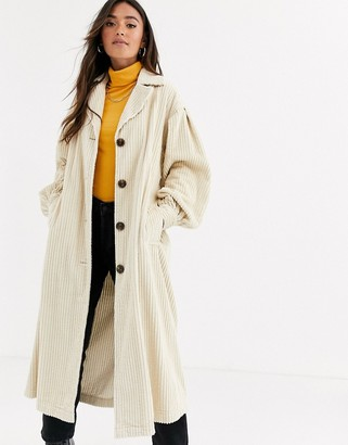 Asos Design DESIGN jumbo cord trench coat in cream-Brown