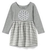 Lands' End Toddler Girls Embellished Gathered Waist Dress-Sequin Snowflake