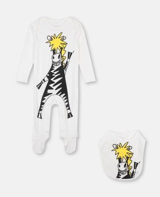 Stella Mccartney Kids Stella McCartney zebra jersey rib babygrow & bib set