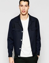 Asos Smart Jacket In Pinstripe With Contrast Buttons