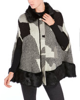 Cliche Faux Fur Trim Cape Cardigan