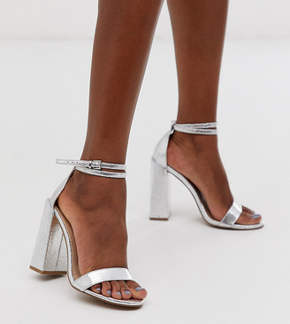 Barely There Asos Design ASOS DESIGN Highlight heeled sandals in silver