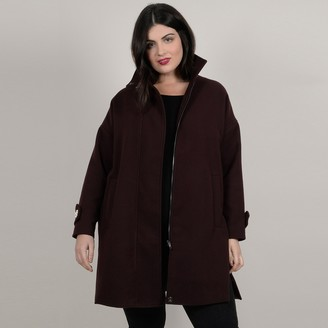 Gabrielle Long Zip-Up Coat with Embellished Stand-Up Collar