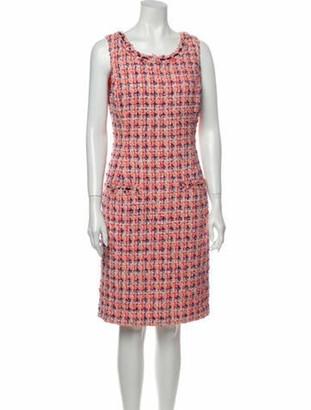 Oscar de la Renta Printed Knee-Length Dress Pink