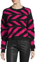 Public School Inlay Cross-Knit Pullover Sweater, Pink