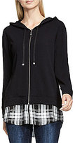 Vince Camuto Two By Plaid Double Layer Shirttail Hem Hoodie