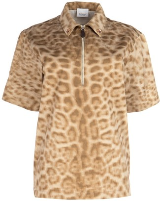 Burberry Zip-Front Printed Shirt