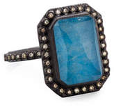 Armenta Old World Emerald-Cut Blue Quartz Triplet Ring with Diamonds