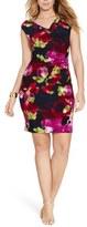 Lauren Ralph Lauren Floral Print Jersey Sheath Dress (Plus Size)
