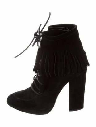 Giuseppe Zanotti Suede Fringe Trim Accent Lace-Up Boots Black