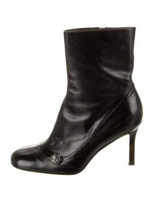 Chanel Vintage Interlocking CC Logo Boots Black