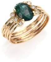 Jacquie Aiche Green Tourmaline, Diamond & 14K Yellow Gold Multi-Row Waif Ring