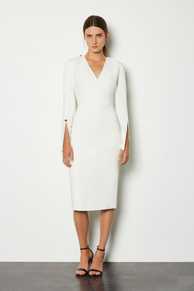 Karen Millen Long Sleeve Deep V Neck Pencil Dress