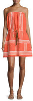 Letarte Strapless Embroidered Sun Dress, Orange