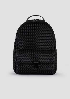 Emporio Armani Quilted Faux Nappa Backpack With Drop Pattern