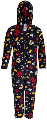 Disney Boys Mickey Mouse Jumpsuit Fleece All in One Hooded Dress Up Character Navy
