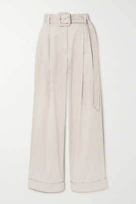 Brunello Cucinelli Belted Bead-embellished Pleated Cotton-blend Twill Wide-leg Pants - Ivory