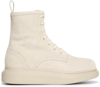 Alexander McQueen Hybrid lace up suede boots
