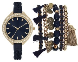 Jessica Carlyle Women's Blue Braided Faux Leather Strap Watch 40mm Gift Set