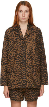 Ganni Brown and Black Leopard Shirt